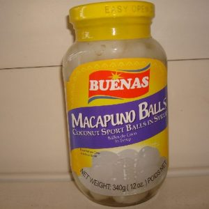 Buenas Macapuno balls in a light syrup