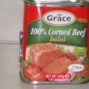 Corned Beef.  Caribbean style and Halal. From the Grace company the well known Jamaican food supplier. – NEW