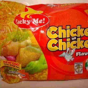 Lucky Me brand. Chicken na Chicken flavour noodles. 3pcs. for a quid. Back in stock