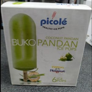 Buko Pandan Flavour,Picole Healthy Organic Ice Pops,Product of the Philippines 6pcs